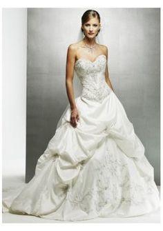 Falda cortada adornada capilla tren vestidos de novia strapless