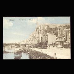 Le Quai Dinant Belgium Vintage Postcard by COINSnCARDS on Etsy
