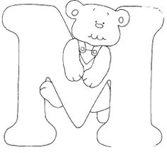 Alfabeto de osito para colorear.