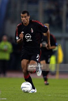 Rivaldo of AC Milan in action during the Serie A match between Lazio and AC Milan at the Olympic Stadium, Rome on September 28, 2002. Ac Milan, September 28, Football Players, Olympics, Brazil, Rome, Snoopy, Soccer, Legends