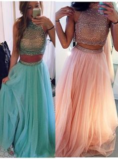 Find unique, vintage and handmade Best Gorgeous Two-pieces Beading Halter Neck Prom Dress-Tulle Sleeveless Long Prom Dress Junior Prom Dresses in SimpleDress Gorgeous Two-pieces Beading Halter Neck Prom Dress-Tulle Sleeveless Long Prom Dress Senior Prom Dresses, Prom Dresses 2016, Tulle Prom Dress, Dresses Dresses, Dance Dresses, Bridesmaid Dress, Simple Dresses, Beautiful Dresses, Stylish Dresses