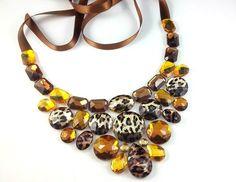 bib necklace leopard necklace