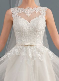 A-Line/Princess Scoop Neck Knee-Length Tulle Wedding Dress With Bow(s) Wedding Dresses With Straps, Tulle Wedding, Wedding Party Dresses, Semi Formal Wedding, Casual Wedding, Grey Evening Dresses, Expensive Dresses, Wedding Expenses, Dress Vestidos
