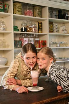 The prairie girls go to town, have an ice cream soda