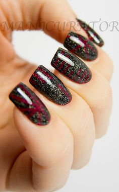 manicurator: Zoya Blaze and Storm Swatch and Review with striping tape nail art