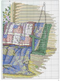 """""""July - Quilts for All Seasons"""" a cross stitch pattern by Paula Vaughan.  #2   Found on manualidades.facilisimo.com"""