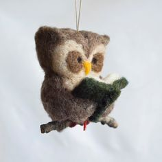 Needle Felted Owl Ornament via Etsy. Great gift idea for book club friends or ME!!
