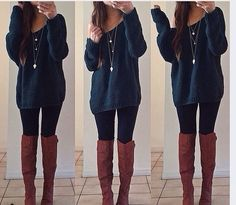 Take a look at 35 casual winter outfits with leggings you have to try in the photos below and get ideas for your own cold weather outfits! Leggings is the magic answer when it comes to fall & winter outfits,… Continue Reading → Mode Outfits, Casual Outfits, Fashion Outfits, Womens Fashion, Outfits With Boots, Tall Boots Outfit, Long Sweater Outfits, School Outfits, Outfits 2016