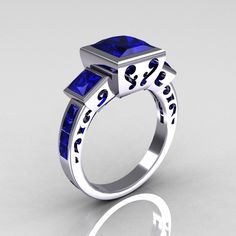 Amazing. Classic Bridal 18K White Gold 2.5 Carat Square Three Stone Princess Blue Sapphire Ring R315-18WGBS. $1,399.00, via Etsy.