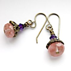 Strawberry Quartz Brass Earrings [SSB] - $20.00 : Sunfluer's Jewelry Designs-Adoption Jewelry Designs-Personalized and Handcrafted Beaded Jewelry
