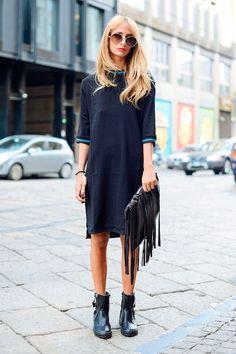 dress & booties. Milan.