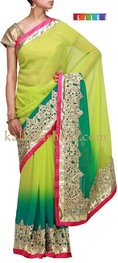 Buy it now http://www.kalkifashion.com/dyed-saree-in-green-with-pitta-embroidery.html Dyed saree in green with pitta embroidery