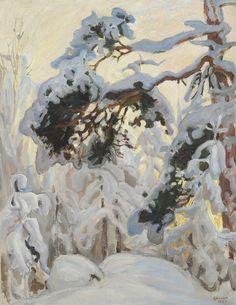 """Akseli Gallen-Kallela (Finnish, Winter forest, Oil, 55 x 43 cm. Painting Snow, Winter Painting, Winter Trees, Winter Art, Art And Illustration, Landscape Art, Landscape Paintings, Romanticism Paintings, Scandinavian Paintings"