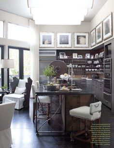 kitchen by mcalpine tankersley, large soffit with framed art, open shelves, hartsock kitchen