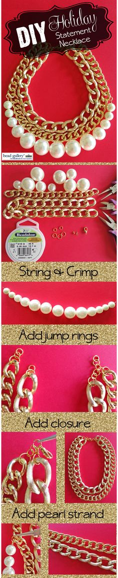 DIY Holiday Pearl Statement Necklace