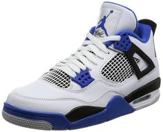 Nike Jordan Mens Air Jordan 4 Retro White/Game Royal Black Basketball Shoe  10 Men US Air Jordan 4 featured a unique strap on each side for ankle  support A ...