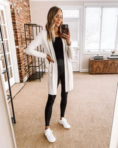 Fashion Jackson Nordstrom Anniversary Sale Barefoot Dreams Cardigan Black Bodysuit Black Spanx Leggings adidas White Sneakers Weekend Wear, The Man, Sheep, App, How To Wear, Clothes, Clothing, Kleding, Apps