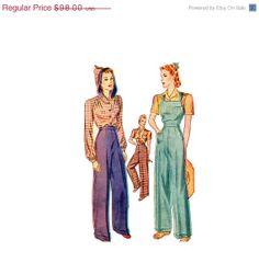 25 OFF Vintage 40s Misses Sewing Pattern Rosie the by retromonkeys, $73.50