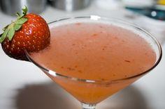 Strawberry Lemon Drop - 2 parts vodka (no flavored stuff…just plain old vodka)  1 part fresh squeezed lemon juice  1 part simple syrup*  4-5 strawberries  ice