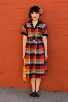 Google Image Result for http://images1.chictopia.com/photos/lokistokes/8157057229/red-plaid-shirt-vintage-dress-yellow-weaved-vintage-bag_400.jpg