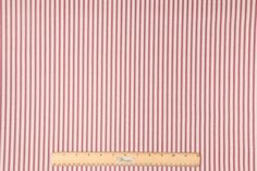 9.5 Yards Vertical Stripe Printed Cotton Drapery Fabric in Red/Beige