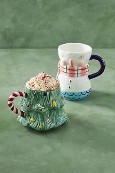 Christmas Mugs, Christmas Holidays, Christmas Decorations, Christmas Tree, Vintage Christmas, Christmas Ideas, Christmas Crafts, Bristol, Anthropologie Christmas