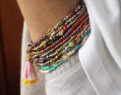 Juniper Berry 5 Wrap Beaded Bracelet Long Seed Bead by NonaDesigns