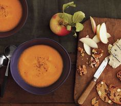 Sweet Potato and Apple Soup With Cheese and Walnuts. Doesn't this sound so delicious?!?  Yum!