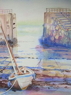 mousehole harbour - sold - visit http://www.karenjanegreen.com/apps/webstore/ for similar artwork