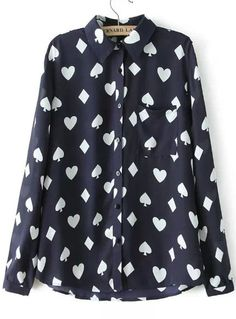 Navy Lapel Poker Print Loose Blouse 14.17