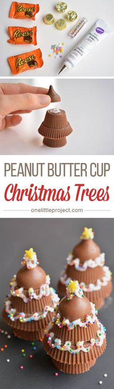 peanut butter cup Christmas trees are SO CUTE! They'd make a great des These peanut butter cup Christmas trees are SO CUTE! They'd make a great des. These peanut butter cup Christmas trees are SO CUTE! They'd make a great des. Christmas Snacks, Christmas Cooking, Noel Christmas, Christmas Goodies, Holiday Treats, Holiday Recipes, Christmas Recipes, Christmas Ideas, Christmas Parties