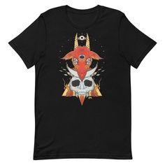 Goat & Skull, Unisex T-Shirt, Black #arttee #TShirt #skull #shirts #shirt #goat #artwork