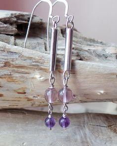 Long Amethyst Dangle Earrings, Eco Friendly, Amethyst Earrings, Purple Earrings, February Birthstone, Vegan, Sterling Silver, Upcycled by WaterRhythmGems on Etsy