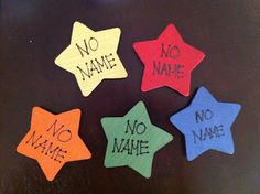 "Create these ""No Name"" magnets to display work on the board that didn't have a name. When students see the magnet holding up a piece of paper, they go up to the board to see if it is theirs. If so, they put their name on it and hand it back to me."