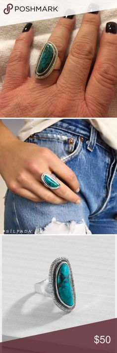 NIB Silpada Turquoise Ripple Ring Gorgeous turquoise and Sterling silver ring.  Pet and smoke free home. Silpada Jewelry Rings
