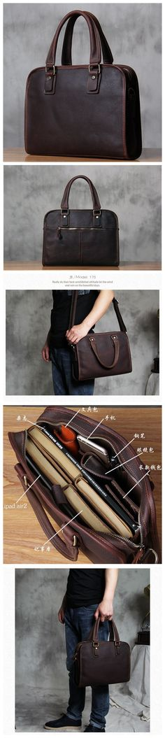 ROCKCOW Antique Style Genuine Leather Mens Briefcase Messenger Bag Satchel Bag 2845