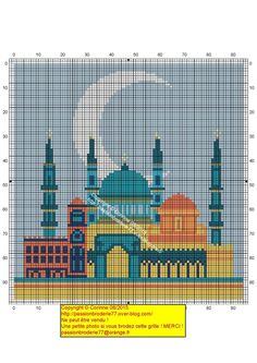 Taj Mahal cross stitch chart / cross stitch pattern - but may also be used for: crochet, knitting motifs, knotting, loom beading, Perler beading, weaving and tapestry design, pixel art, micro macrame, friendship bracelets, and anything involving the use of a charted pattern.