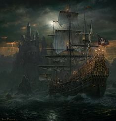 Pirate Sailing Ship near Castle gaming games images pictures screenshot GameScapes GamingShot concept digital art VistaLore daily pics beauty imagination Fantasy Pirate Art, Pirate Life, Pirate Ships, Pirate Queen, Pirate Skull, Bateau Pirate, Old Sailing Ships, Ghost Ship, Black Sails