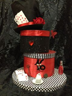 Anime Alice in Wonderland themed sweet 16 party. I really enjoyed creating these centerpieces. Alice In Wonderland Hat, Wonderland Party, Sweet 16 Gifts, Sweet 15, 32 Birthday, Graduation Party Themes, Mad Hatter Hats, Mad Hatters, Tree Centerpieces