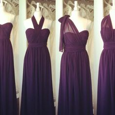 Pretty purple sweatheart chiffon long bridesmaid dress summer beach bridesmaid dress