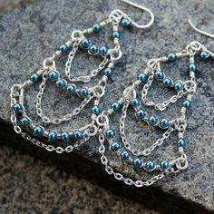 Chandelier earrings teal light blue green blue cream chandelier earrings pearl green blue petrol teal czech by jkfoster 1050 mozeypictures Images