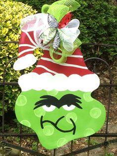 Grinch door hanger Christmas wreath Christmas door hanger on Etsy, $40.00