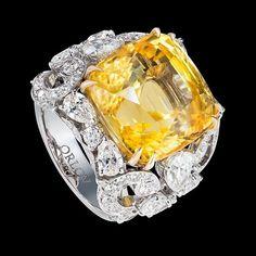 "Orlov Jewelry - ""lemon color"" sapphire ring set in white diamonds."