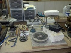 Silver smithing set up before the mess. Jewelry Tools, Jewelry Making Supplies, Diy Jewelry, Jewelery, Smith Tools, Mixed Metal Jewelry, Make Your Own Jewelry, Workshop Ideas, Metal Clay