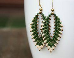 Green Leaf Beaded Earrings, Peyote Russian Leaf Beadwork
