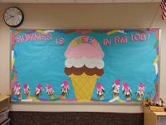 "This year's summer school bulletin board. ""Summer Is Sweet In Rm. 108"". With neapolitan hand print ice cream cones."