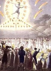 Descent of Madame Saqui, surrounded by fireworks, published by Thomas Kelly London, 1822 (aquatint) Fireworks, Shabby, Wire, Gardens, English, London, Female, History, Illustration