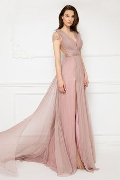 Cristallini - Embroidered Deep V-Neck Pleated A-Line Dress - Enter the hall with grace and beauty in this stunning dress by Cristallini This beautiful d - Ball Dresses, Ball Gowns, Evening Dresses, Tulle Dress, Pink Dress, Light Pink Color, Pleated Bodice, Western Dresses, Stunning Dresses