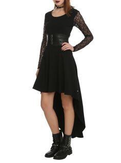Black dress with hi-lo cut, lace sleeves and faux leather strap waistband.