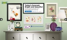Today's forecast: Bright and beautiful! Summer may be on the wane, but in here it's feeling lovelier every day. Den Ideas, Wall Ideas, Above Couch, Ikea Design, Tiny Studio, Ikea Frames, Hello Autumn, Beautiful Wall, Autumn Inspiration